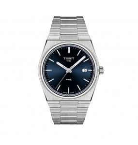 montre TISSOT cadran bleu et bracelet acier, mouvement quartz