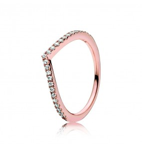Wishbone PANDORA Rose ring with clear cubic zirconia
