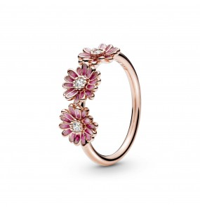 Daisy Pandora Rose ring with clear cubic zirconia and shaded pink enamel