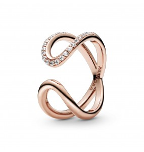 Infinity Pandora Rose open ring with clear cubic zirconia