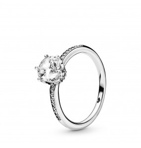 Crown sterling silver ring with clear cubic zirconia