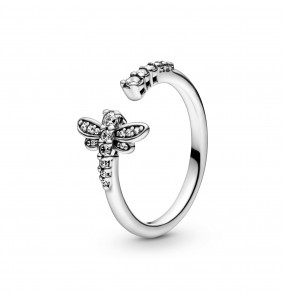 Dragonfly sterling silver open ring with clear cubic zirconia