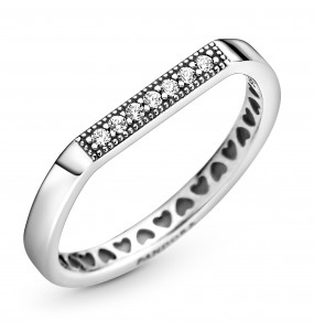Thin bar sterling silver ring with clear cubic zirconia