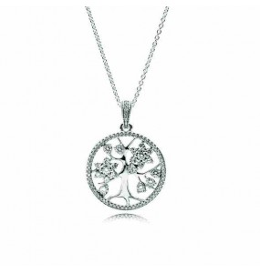 Tree of life silver pendant with clear cubic zirconia and necklace