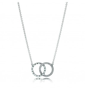 PANDORA logo silver necklace with clear cubic zirconia