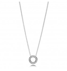 PANDORA logo reversible silver collier with clear cubic zirconia