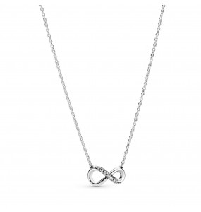 Infinity sterling silver collier with clear cubic zirconia