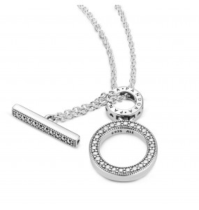 Pandora logo and hoop sterling silver collier with clear cubic zirconia