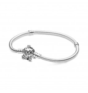 Disney snake chain sterling silver bracelet and Cinderella pumpkin coach clasp with clear cubic zirconia