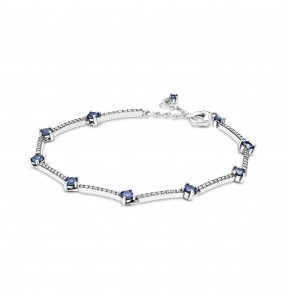 Sterling silver bracelet with clear cubic zirconia and skylight blue crystal
