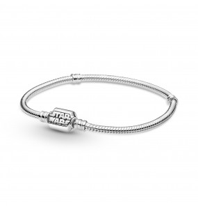 Snake chain sterling silver bracelet with Star Wars clasp