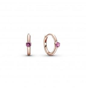 Pandora Rose hoop earrings with phlox pink crystal