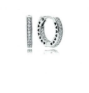 Hoop silver earrings with clear cubic zirconia, 15 mm
