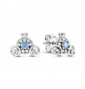 Disney Cinderella pumpkin coach sterling silver stud earrings with clear and fancy light blue cubic zirconia