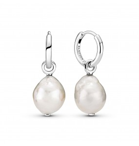 Sterling silver hoop earrings with baroque white freshwater cultured pearl
