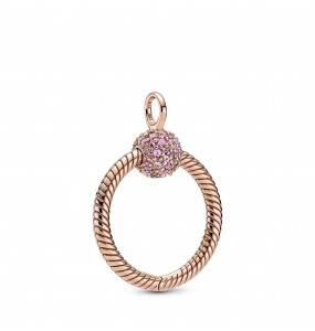 Small Pandora Rose Pandora O pendant with synthetic pink sapphire and fancy fairy tale pink cubic zirconia