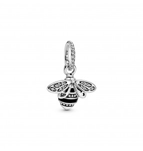 Bee sterling silver pendant with clear cubic zirconia and black enamel