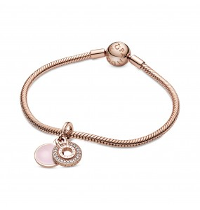 Crown O Pandora Rose dangle with clear cubic zirconia and pink enamel