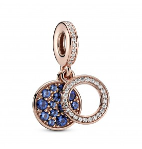 Circle and disc Pandora Rose dangle with clear cubic zirconia and stellar blue crystal