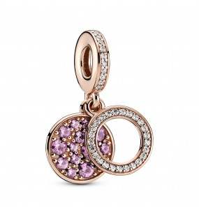 Circle and disc Pandora Rose dangle with clear cubic zirconia and synthetic pink sapphire