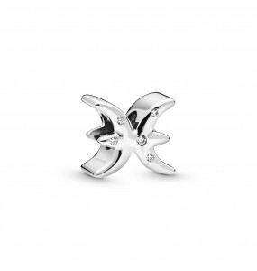 Pisces sterling silver charm with clear cubic zirconia