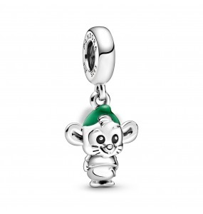 Disney Gus sterling silver dangle with black and green enamel