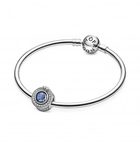 Crown O sterling silver charm with skylight blue crystal and clear cubic zirconia
