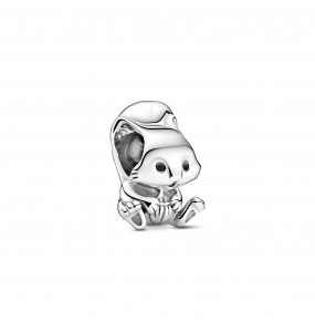 Squirrel sterling silver charm with black enamel