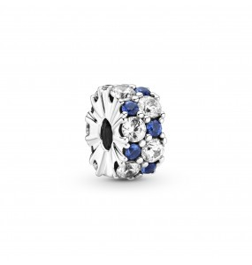 Sterling silver clip with clear cubic zirconia and stellar blue crystal and silicone grip