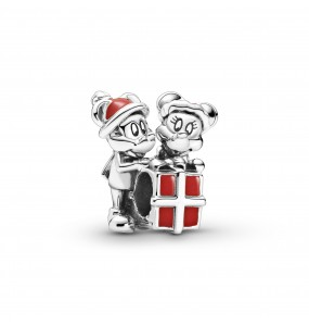 Disney Mickey, Minnie and gift box sterling silver charm with red enamel