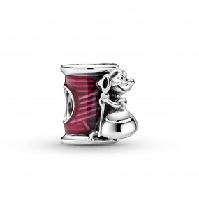Disney Cinderella mouse, needle and thread sterling silver charm with transparent cerise enamel