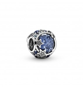 Crescent moon and star sterling silver charm with skylight blue, stellar blue, true blue and icy blue crystal and clear