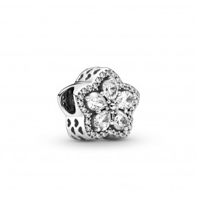 Snowflake sterling silver charm with clear cubic zirconia