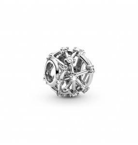 Openwork sterling silver charm with clear cubic zirconia