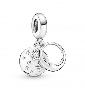 Moon and star sterling silver dangle with clear cubic zirconia