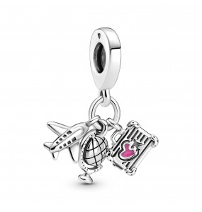 Airplane, globe and suitcase sterling silver dangle with pink enamel